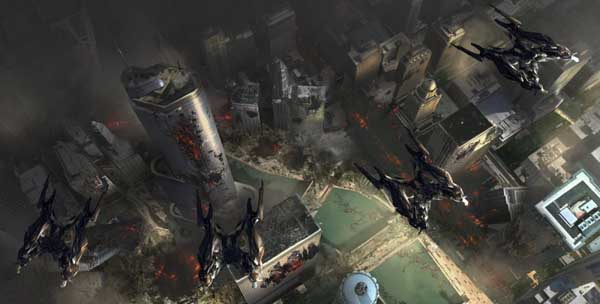 Transformers  3 Concept Art Chicago's Destruction