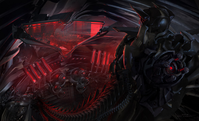 Transformers 3 Concept Art - Shockwave piloting Driller